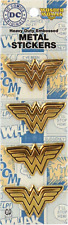 37025 Wonder Woman Logo Superhero Comic Book METAL EMBLEM PACK OF 4 Sticker Pack
