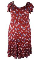 NEW Woman Within Multi-Color Plus Size 18W Dress Crinkle Fabric Flutter Sleeves