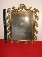 "Antique(original) Circa 1800s Highly Decorative Metal Mirror 13 3/4th""x 10 1/2"""