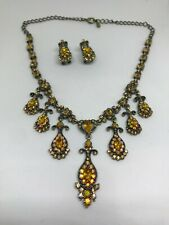 Women Brown Crystal Necklace Earring Party Bridal Dinner Dress Jewelry Set 2
