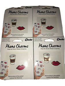 8 iDecoz iPhone Charms ~ 4 Coffee & 4 Red Lips Stick-on Charms ~ Lot of 4 (2pk)
