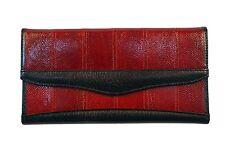 Genuine Salmon Skin Leather - Women Long Purse Wallet Clutch / Dark Red