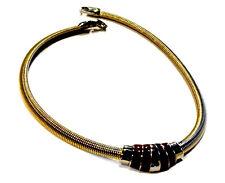 Bijou très beau collier tubogaz émaillé rouge alliage doré et argenté necklace