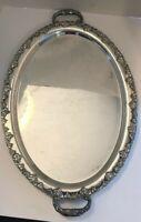 Antique Sheffield Plate Oval Ornate  Serving Tray Grape Motif  Large Platter