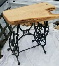 ANTIQUE CAST IRON SEWING MACHINE TABLE ASH LIVE EDGE WOOD TOP RUSTIC