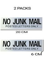 2 PCS NO JUNK MAIL POSTED LETTERS ONLY FRONT DOOR LETTER BOX SIGN STICKER NEW