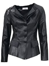 Linea Tesini Lederjacke Gr. 44 schwarz grau mit Stickerei Jacke Leder NEU