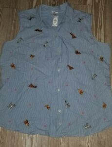 Disney store Vintage Lady And The Tramp Embroidered Sleeveless Shirt Size XXL