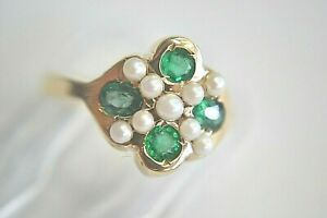 VINTAGE 14K YELLOW GOLD EMERALD AND PEARL RING