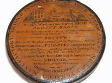 ANTIQUE SNUFF BOX GEORGE INNESS & CO NEW YORK ALBANY BASIN STEAM SNUFF MILL MAN.