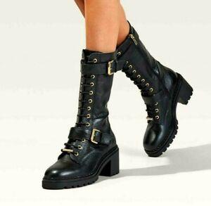 Carvela Slash Black Leather Calf Length Biker Boots With Buckles Size 8 RP £189
