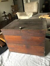 Vintage Handmade Wooden Tool Box Storage Chest With Tray Insert 16 12 X 13
