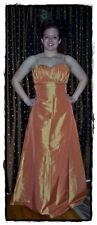 NWT NEW DA VINCI Tangerine Orange Taffeta Bridesmaid Prom Dress Gown 12