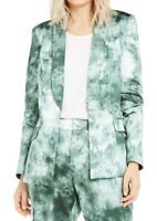 INC Womens Blazer Jacket Green Multi Size Small S Tie-Dye Snap-Front $99 029