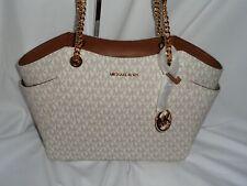 Michael Kors Jet Set Travel Large Chain Shoulder Tote Handbag Vanilla MK Shopper