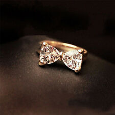 Wedding Engagement Women Fashion Crystal Bow 18K Gold Plated Jewelry Ring