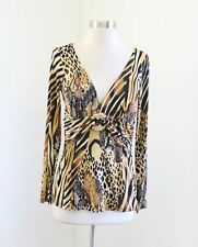 Cache Abstract Cheetah Tiger Print V-Neck Long Sleeve Top Blouse Size M
