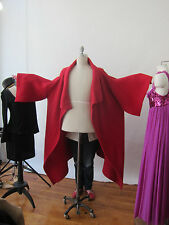 Enta Maar Sweater Coat Kimono  Cardigan Avant Garde Funnel Neckline OS RED
