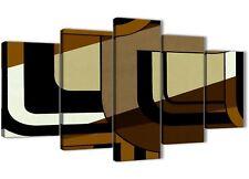 5 Pannello Marrone Crema Pittura Astratta Tela Arredamento ufficio - 5413 - 160 cm