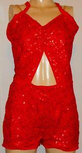 Red Halter Sequin Unitard Adult XL Romper Jumpsuit Fully Lined Jumper
