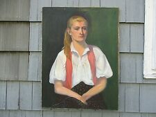 Large WPA Style Oil on Canvas Portrait of Woman