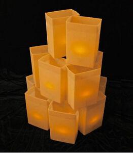 BROWN LUMINARY BOX  LIGHT SET W/ CANDLES - 1 SET - CHRISTMAS / WINTER HOLIDAY