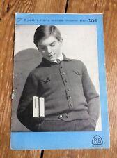 40s Vintage P&B Wools Knitting Pattern Boys Lumber Jackets Fingering 4 Ply