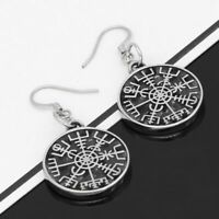 Stainless Steel Earrings Nordic Viking Rune Compass Amulet Geometric Small Size