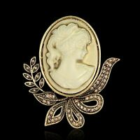 Vintage Beauty Face Cameo Rhinestone Brooch Pin Bouquent Prom Women Jewelry