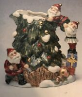 Fitz and Floyd 1995 Omnibus 1.25 Quart Wood Carved Santa Pitcher New in Box RARE
