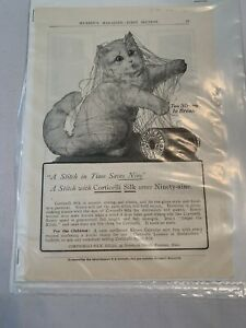 Corticelli Silk Ad, Kitten tangled in thread in Mussey's Magazine,early 1900s