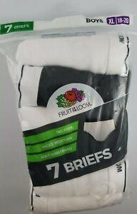 Fruit of the Loom 7 Pair Briefs Size 18-20 XL Boys Underwear White Gray Black