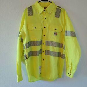 Carhartt FR Fire Rated Yellow High Visibility Reflective Longsleeve Shirt Medium