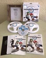 Nintendo Wii Spiel Mario Kart mit 2 Original Lenkräder weiss. Blitzversand