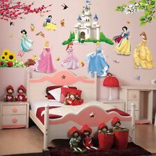 Cartoon Princess Castle Flower Mural Wall Decal Sticker for Kids Girl Room Decor