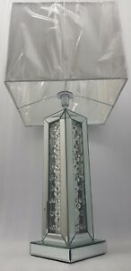 Floating Crystal Sparkly Table Lamp Silver Square Shade Mirrored Bevelled