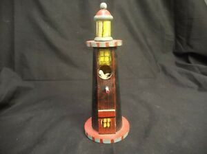 "HAND PAINTED WOOD LIGHTHOUSE 2010 SIGNED 7.5"" TALL X 3"" WIDE BLACK RED GREY"