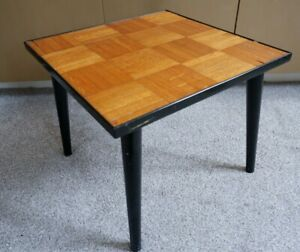 Great Mid-century Modern Square Parquet Top Coffee Table with Dansette Legs