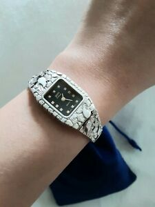"""Women's 925 Sterling Silver Nugget Geneve Diamonds Watch 7""""Inches 25grams"""