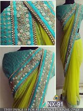 Beautiful Designer Party Wear Neon Green Color Georgette Fabric Designer  Saree
