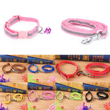 Cute Reflective Pet Dog Puppy Collars and Leads Leash with Bell for Small Dog UK