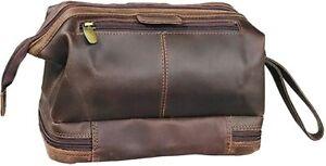 Genuine Buffalo Leather Toiletry Unisex Case Mens Bag Travel Dopp Men Travel Kit