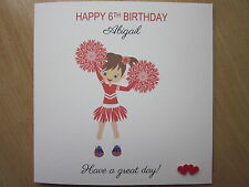Personalised Handmade Girls Cheerleader Birthday Card - 5th 6th 7th 8th Any Age