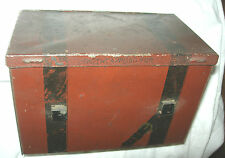 J Wright Co Boston Offce Vintage Lunchbox Tobacco Tin 1891 Tax Stamp Richmond Va