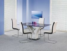 Esstisch Küchentisch Vesper 160-90-75 cm Holz: Weiß Hochglanz Fest Glas Platte