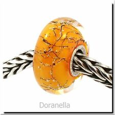 Authentic Trollbeads Glass 61306 Orange Steel :1 RETIRED