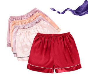 2 Pack Women's Satin Shorts Silky Soft Ladies Summer Pajamas AU Size 10-12
