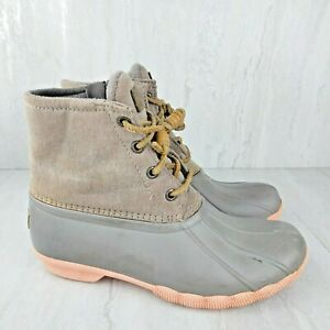 Sperry Women's Saltwater Duck Boots Grey Tan Pink STS81646 SIZE 6M