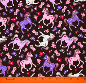 Pony Horse Fabric - HALF YARD - 100% Cotton - Sewing Quilting Cowgirl Girls Pink