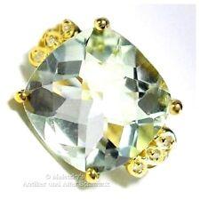 5,07ct Prasiolith Ring mit Diamanten 10K / 416er Gold grüner Amethyst 17,5 / 55